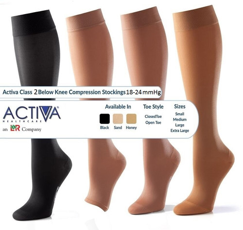 Activa Compression Hosiery and Socks Size Guide. Buy Activa Below Knee Compression Hosiery Class 1, Class 2 and Class 3 (14-17mmHg, 18-24mmHg & 25-35mmHg) in Honey, Sand, Black. Buy British Standard Activa Compression Hosiery and  Socks at Medical Dressings Ltd the UK's Favourite Medical Online Shop!