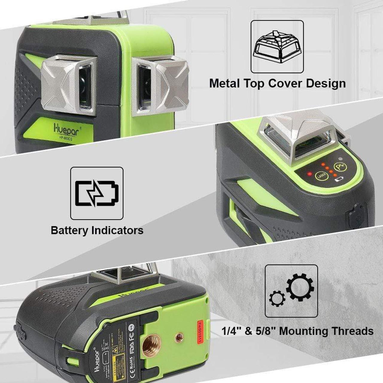 Huepar 603CG 3D Green Cross Line Laser Level