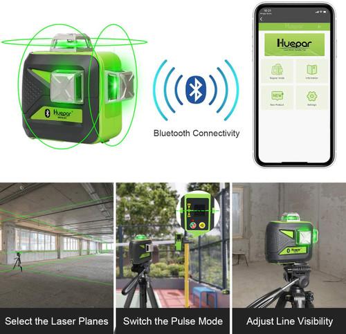 Huepar 603CG Bluetooth 3D Green Cross Line Laser Level