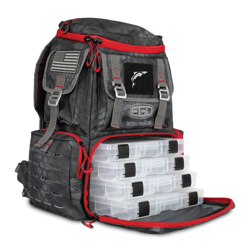 EGO Tackle Box Back Pack w/ 4 tackle trays
