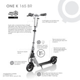 The Globber One K 165 Br Commuter Scooter Features;
