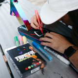 Get creative and design your griptape with the TRNSFR acrylic paint pens.
