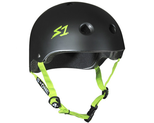 S1 LIFER Certified Helmet | Black Matte w/ Green Straps