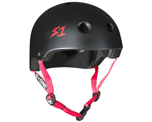 S1 LIFER Certified Helmet | Black Matte w/ Red Straps