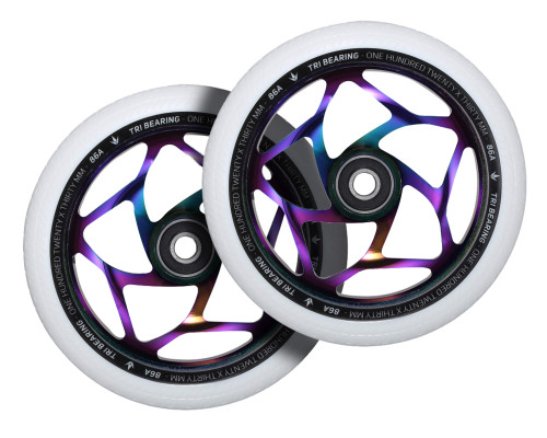 Envy Tri-Bearing Wheels | 30mm x 120mm | White/Oil Slick | Pair