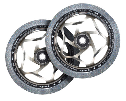 Envy Tri-Bearing Wheels | 30mm x 120mm | Clear/Chrome | Pair