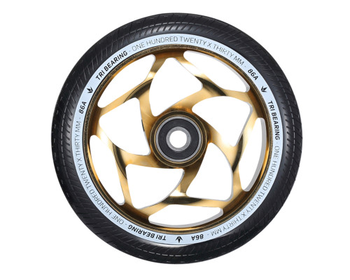 Envy Tri-Bearing Wheels | 30mm x 120mm | Black/Gold | Pair