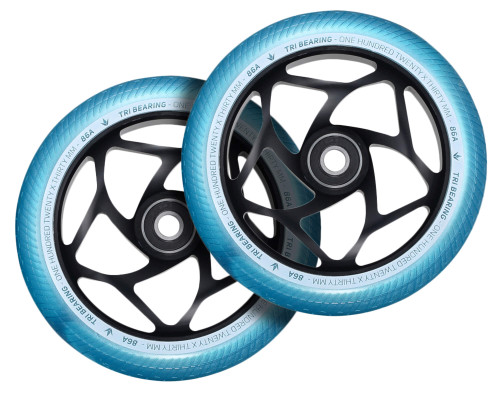 Envy Tri-Bearing Wheels | 30mm x 120mm | Teal/Black | Pair