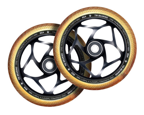 Envy Tri-Bearing Wheels | 30mm x 120mm | Gold/Black | Pair