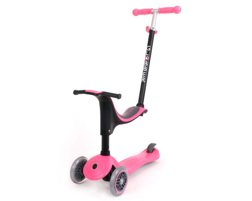 Globber Go Up Sporty 4-in-1 Kids 3-Wheel Scooter   Deep Pink