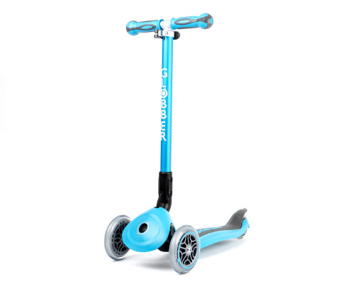 Globber Go Up Deluxe Convertible Kids 3-Wheel Scooter | Sky Blue - Scooter Mode Front
