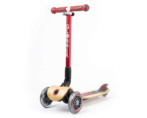 Globber Primo Wood Foldable Kids 3-Wheel Scooter |  Red
