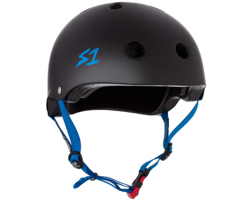 S1 MINI LIFER Certified Helmet | Black Matte w/ Cyan Straps