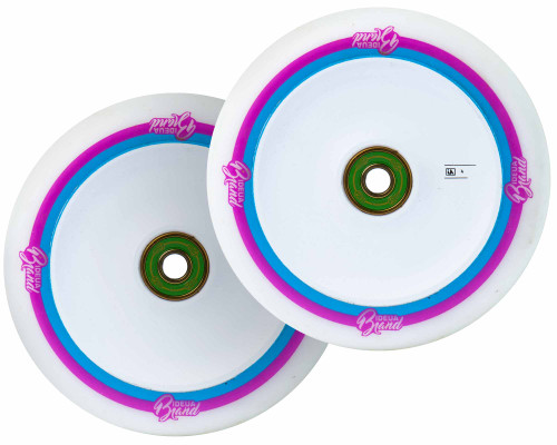 UrbanArtt Original Wheels | 24mm x 110mm | White (Pink/Blue Print)/White