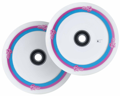 UrbanArtt 12mm Standard Original Wheels | 30mm x 125mm | White (Pink/Blue Print)/White