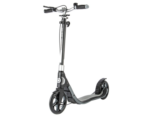 Globber ONE NL 205 Deluxe Commuter Scooter | Charcoal Grey - 45 Degree Front View