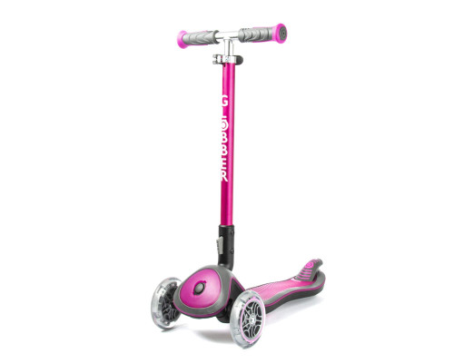 Globber Elite Deluxe Lights 3-Wheel Scooter | Deep Pink - Front
