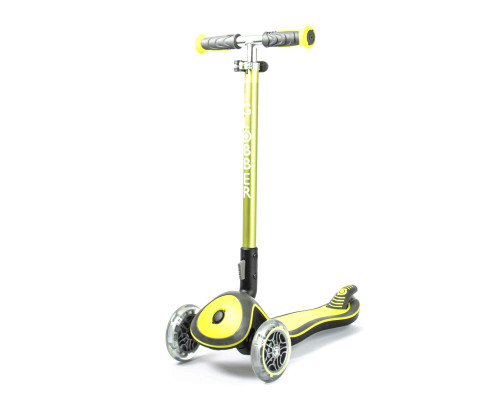 Globber Elite Deluxe Lights 3-Wheel Scooter | Lime Green - Front