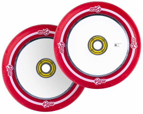 UrbanArtt 12mm Standard Original Wheels | 30mm x 125mm | Red (White Print)/White