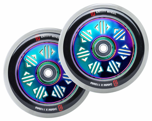 Drone Identity Wheels | 24mm x 110mm | Frosted Clear/Neochrome