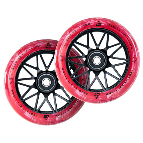 Scooter Hut DNA Wheels | 24mm x 110mm | Clear Red Marble/Black