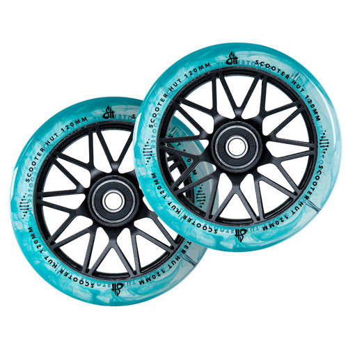Scooter Hut DNA Wheels | 24mm x 120mm | Clear Blue Marble/Black