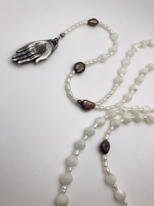 Hand Rosary - mother of pearl and pearl