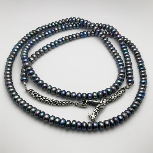Ouroboros mourning beads - pearl