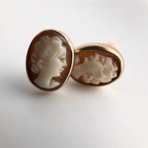 Antique 14k cameo earrings