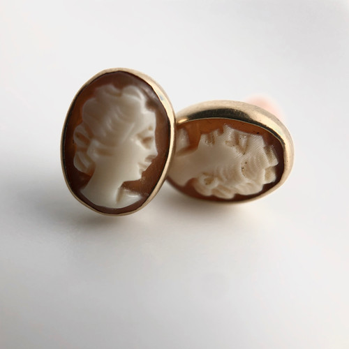 Antique 14k cameo earrings