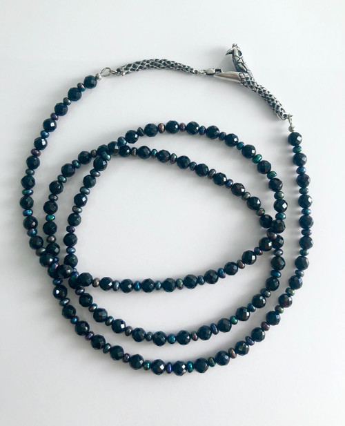 Ouroboros mourning beads - onyx & pearl