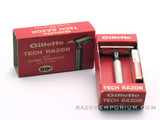 1967 M3 Gillette Ball End Tech DE Razor in Original Red Box w/ Blades