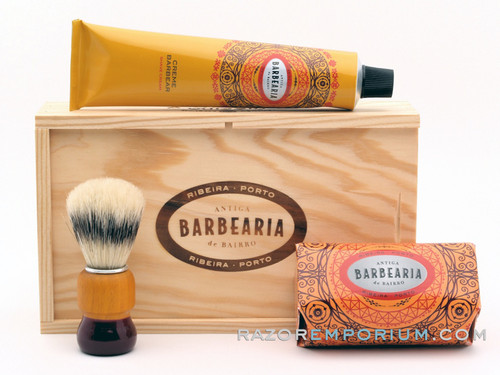 Antiga Barbearia de Bairro Classic Shaving Set Ribeira Porto (Orange) w/ Wood Box