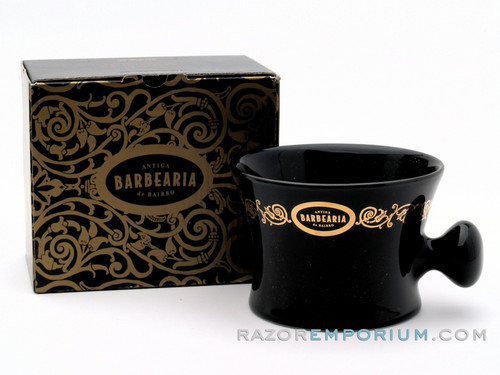 Antiga Barbearia de Bairro Porcelain Shaving Mug Essentials (Black & Gold)