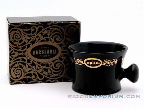 Antiga Barbearia de Bairro Porcelain Shaving Mug Essentials (Black & Gold)