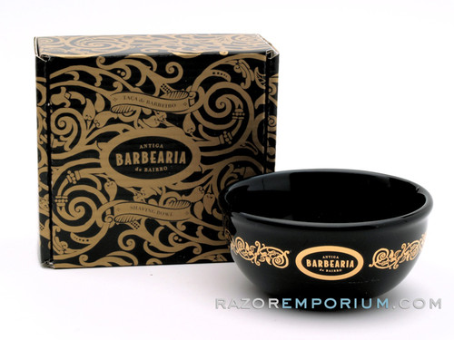 Antiga Barbearia de Bairro Porcelain Shaving Cup Essentials (Black & Gold)