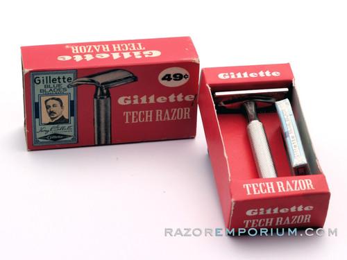 1960 Gillette Ball End Tech DE Razor in Original Red Box w/ Blueblades
