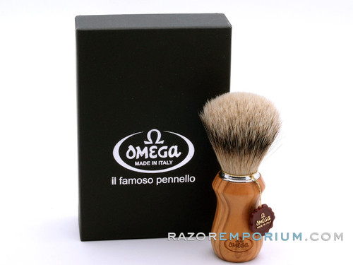 Omega 6832 Omega Super badger shaving brush – OLIVE WOOD