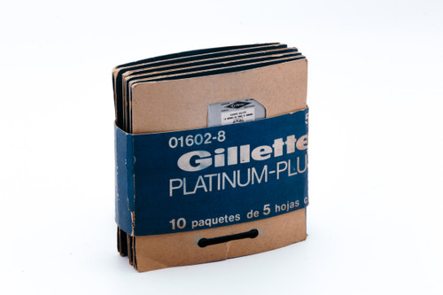 New Old Stock - 50 Gillette Platinum Plus - Made in Argentina - Double Edge Razor Blades