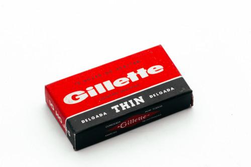 10 Gillette Delgada Thin - Made in Argentina - Double Edge Razor Blades