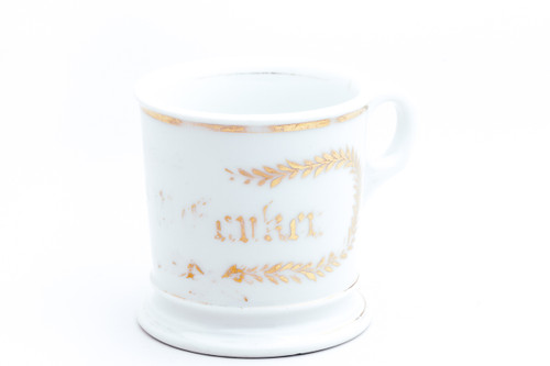 Gold Leaf White Vintage Wet Shaving Mug