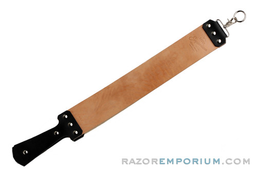"""3"""" Razor Emporium Russet Horsehide & Canvas Straight Razor Strop - Made in USA"""