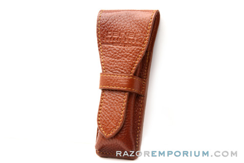 Parker Deluxe Saddle Leather Safety Razor Travel Pouch