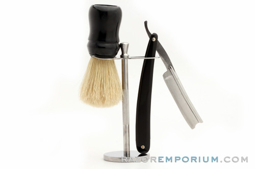 Two Piece Brush & Straight Razor Stand | Stainless Steel Stand