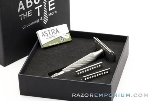 Above the Tie Atlas 5 Piece Satin Stainless Steel Safety Razor - Windsor