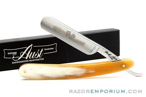 "5/8"" Ralf Aust Round Tip Horn Scale Straight Razor - Shave Ready"