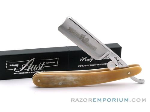 "7/8"" Ralf Aust Spanish Tip Horn Scale Straight Razor - Shave Ready"