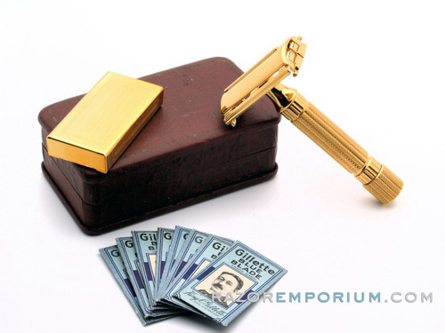 1948-1951 Gillette  Aristocrat DE Safety Razor w/ Leather Case & Blade Bank   24K Gold Revamp