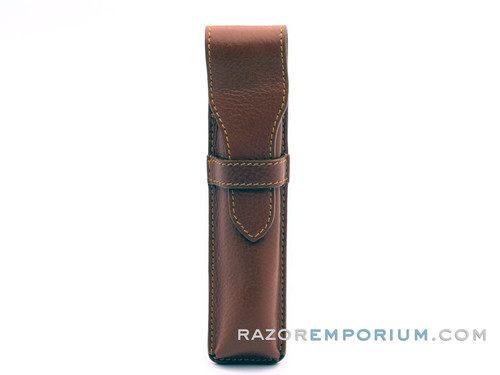 Parker Deluxe Saddle Square-Shape Leather Straight Razor Travel Pouch