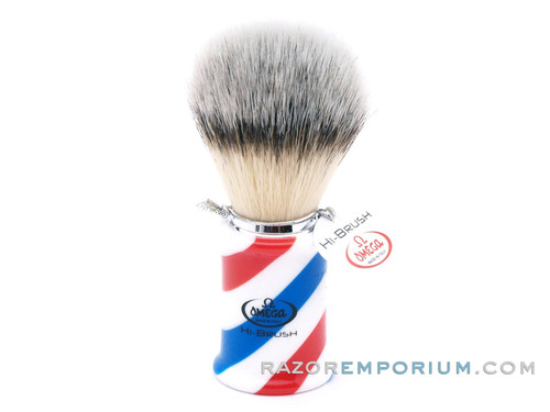 "Omega 46735 ""Barber Pole"" HI-BRUSH Synthetic Shaving Brush"